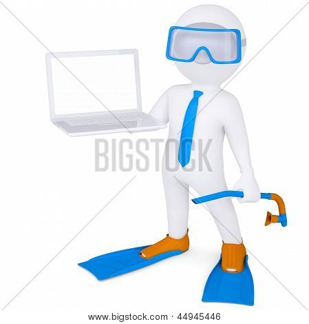 3d white man with laptop in flippers
