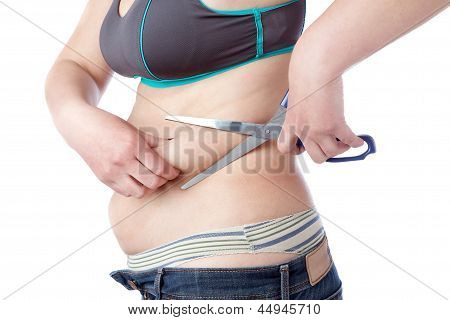 Fat Woman Cuts Off Excess Fat With Scissors. On A White Background.