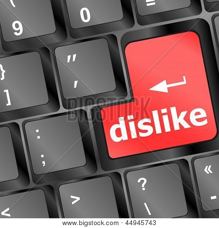 Dislike Key On Keyboard For Anti Social Media Concepts, art illustration 3d