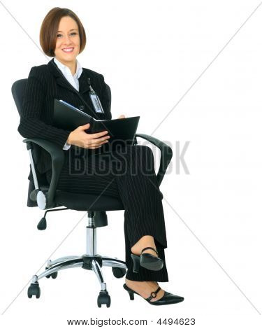 Successful Businesswoman Sit On Chair