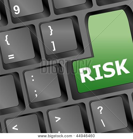 Risk Management Key Showing Business Insurance Concept, art illustration 3d