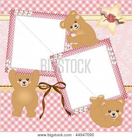 Baby girl photo frame with teddy bear
