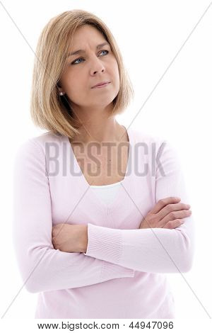 Pensive Woman Standing With Folded Arms