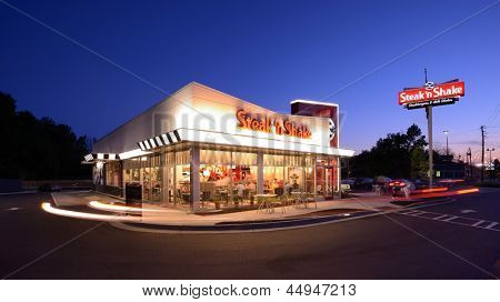 ATHENS, GEORGIA - APRIL 23: Exterior of Steak 'n Shake April 23, 2013 in Athens, GA. Founded in 1934, the chain diner currently has over 400 locations and announced plans for international expansion.
