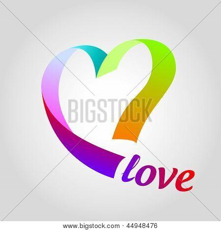 Logotipo coração de fitas coloridas
