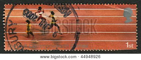 UK - CIRCA 2002: A stamp printed in UK shows image of The Running, 17th Commonwealth Games, Manchester, circa 2002.