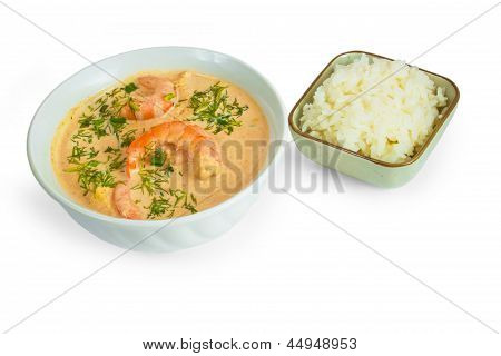 tasty soup shrimp rice plate isolated on white background