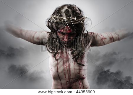 representation of jesus christ on the cross on Cloud Background