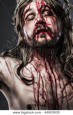 Jesus Christ with crown of thorns, passion concept