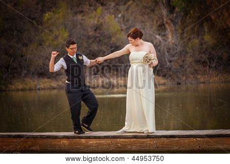 Smiling Cople Dancing Over Pond