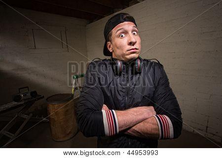 Anxious Man With Headphones