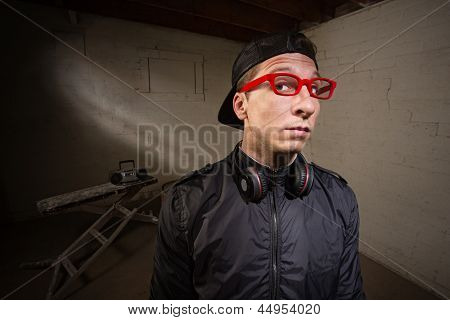 Serious Man In Red Eyeglasses