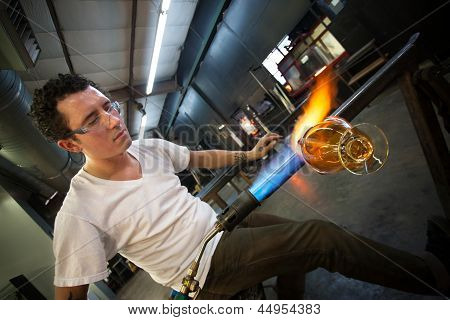 Man Creating Glass Object