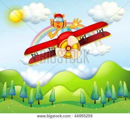 Illustration of a red airplane driven by a tiger