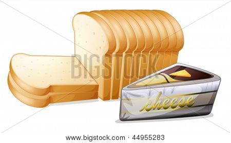 Illustration of the sliced bread with cheese on a white background