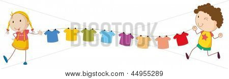 Illustration of the kids holding the tips of the wire for the hanging clothes on a white background