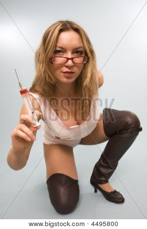 Glamour Woman With Syringe