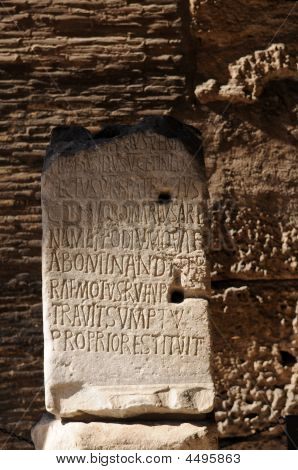 Old Stone Tablet At Colosseum