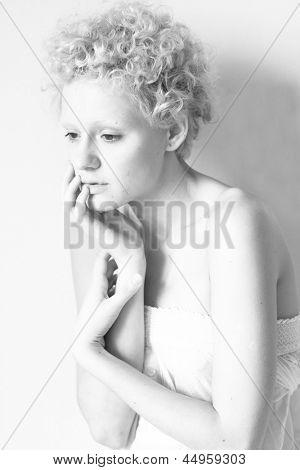 Sensual slim sexy girl, black and white photo.