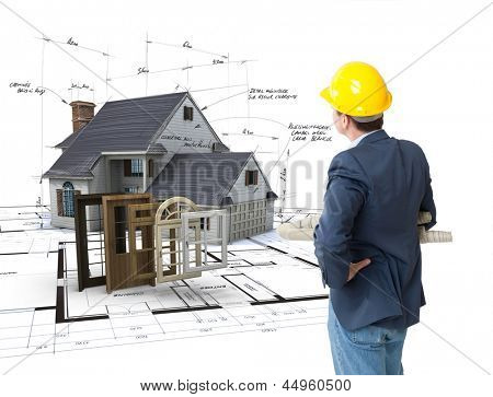 Architect looking at a House on blueprints with a choice of windows and doors