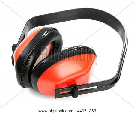 Protective earplugs on white background