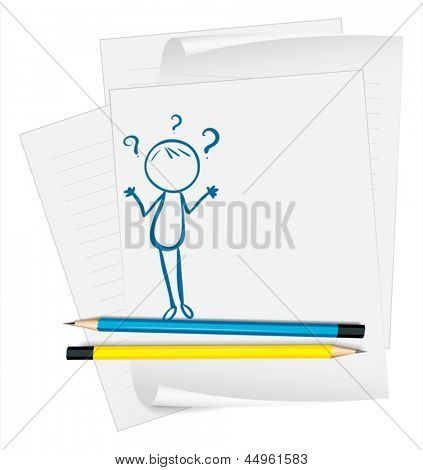 Illustration of a paper with a sketch of a confused person on a white background