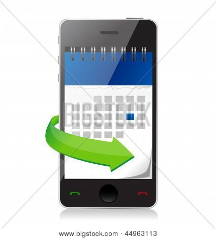 Phone With A Calendar On Screen Illustration
