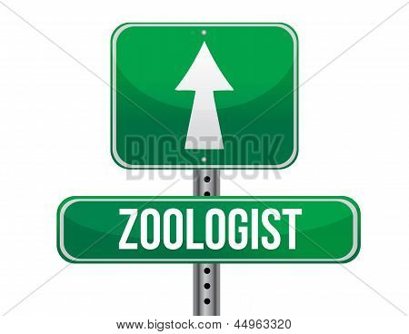 Zoologist Road Sign Illustration