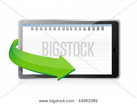 Tablet With A Notepad Ring Binder On Screen