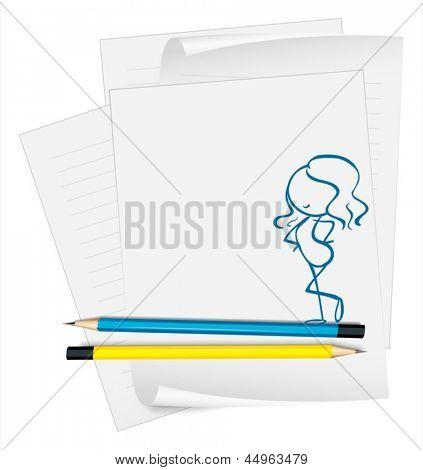 Abbildung eines Papiers mit einer Skizze einer sexy Dame auf weißem Hintergrund