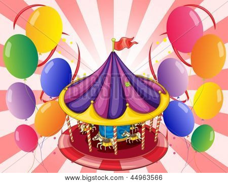 Illustration of a carousel at the center of the balloons