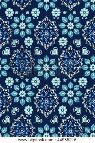 navy floral bandana vector ~ seamless background