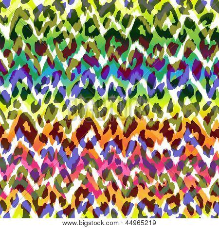 cute seamless animal print over gradient zig zag background ~ seamless vector