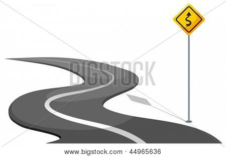 Illustration of a road with yellow signage on a white background