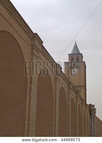 Vank Cathedral Clock Tower And Brick Wall In Isfahan Iran