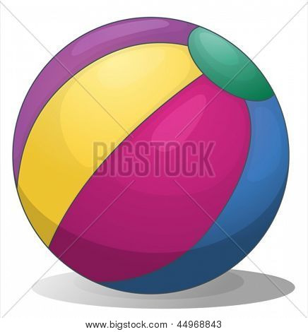 Illustration of a colorful inflatable beach ball on a white background