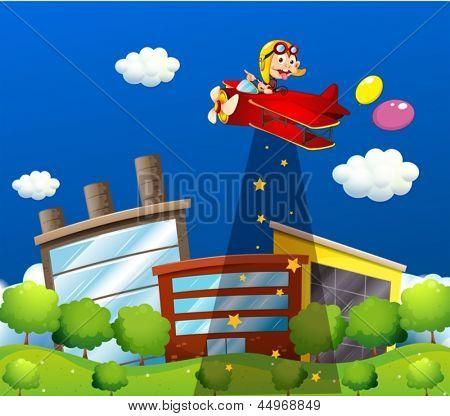 Abbildung eines Affen Reiten in einem Flugzeug über die Gebäude