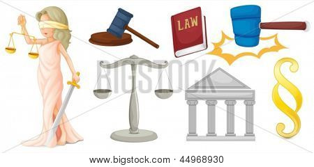 Illustration of a lady with the symbols for justice on a white background