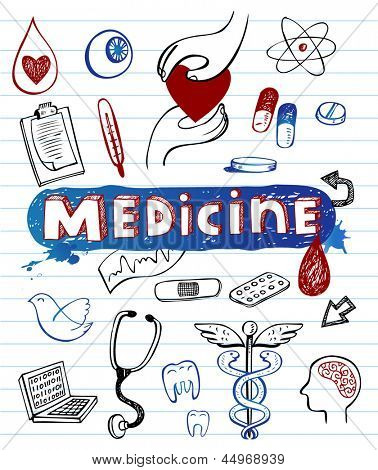 Doodle Medicine icons, vector illustration