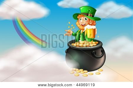 Illustration of a man inside a pot of gold with a mug of cold beer