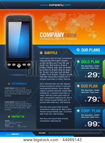 Smart Phone Telecom Provider Brochure detailed vector