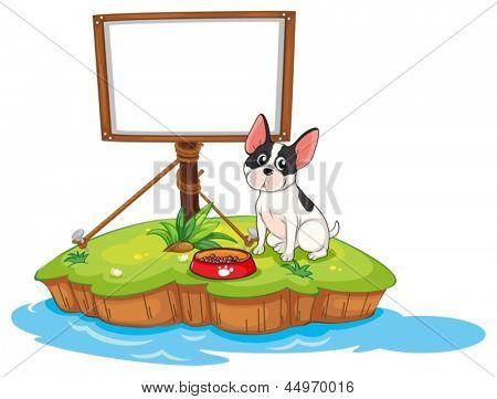 Illustration of a framed signage with a dog on a white background