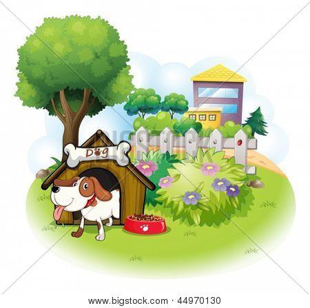 Ilustração de uma casinha de cachorro com um cão dentro de uma cerca em um fundo branco