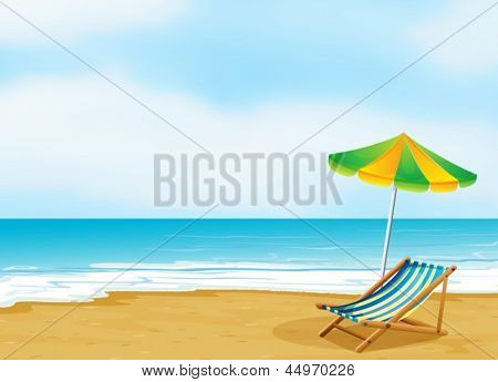 Illustration of a relaxing beach with an umbrella and a foldable bed
