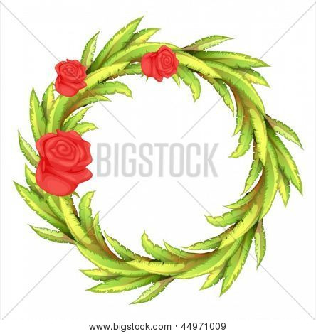 Illustration of a round border with three roses on a white background
