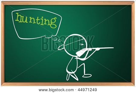 Illustration of a blackboard with a drawing of a boy with gun