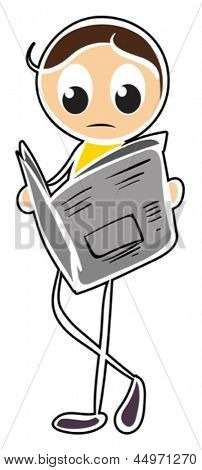 Illustration of a boy reading newspaper on a white background