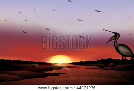 Illustration of a sunset with a flock of birds