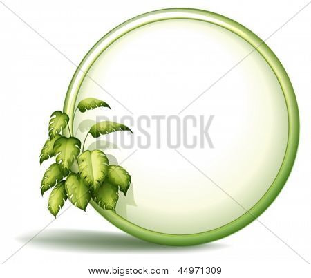 Illustration of a round empty template with plants on a white background