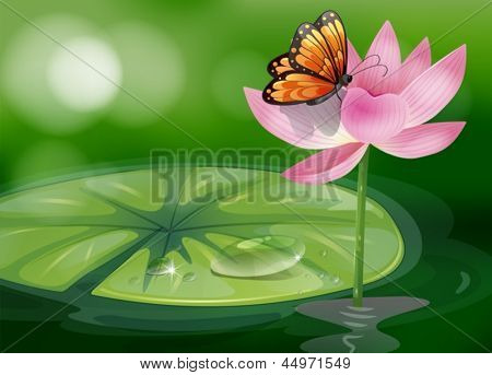 Illustration of a butterfly at the top of a pink flower
